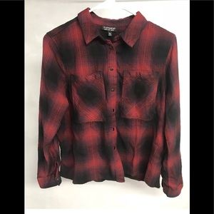 TopShop Red Buffalo Plaid Snap Button Top 6
